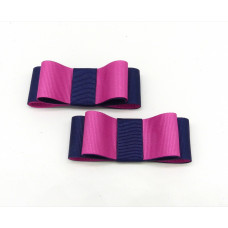 Carly - Navy and Hot Pink Shoe Bows