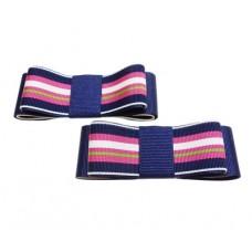 Carly - Stripes Navy Shoe Bows