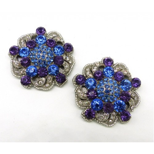 Amelia Shoe Clips - blue and purple