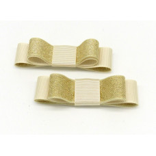 Bella Shoe Bows  - Ivory and Gold