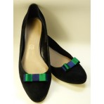 Bella Shoe Bows - Navy and Green