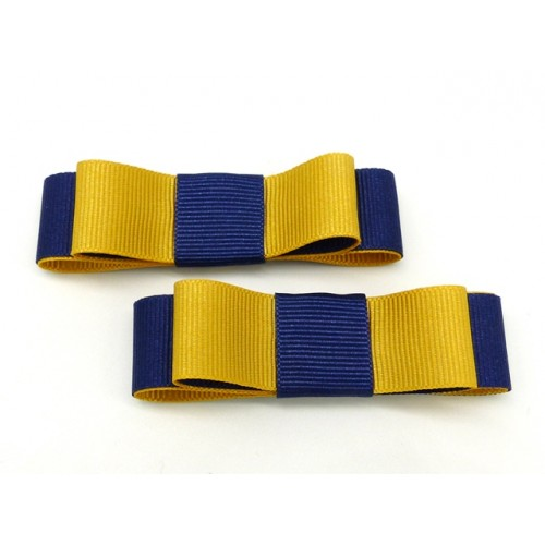 Bella Shoe Bows - Navy and Yellow