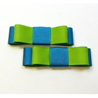 Bella Shoe Bows - Teal and Lime