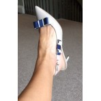 Bella Shoe Bows - Navy and Ivory