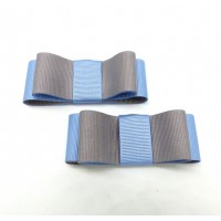 Carly - Grey and Blue Shoe Bows