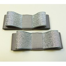 Carly - Grey and Silver Shoe Bows
