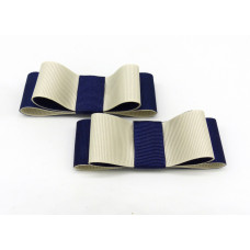 Carly - Navy and Ivory Shoe Bows