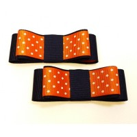 Carly - Orange and Navy Shoe Bows