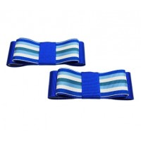 Carly - Stripes Blue Shoe Bows