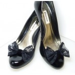 Marilyn - Black Lace Shoe Bows