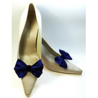 Marilyn - Midnight Blue Silk Shoe Bows