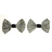 Marilyn - Silver Silk Shoe Bows
