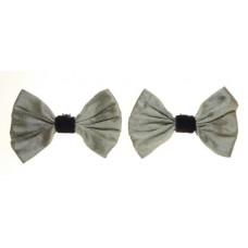 Marilyn - Silver Silk Shoe Bows