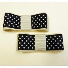 Carly - Black and Ivory Spot Shoe Bows