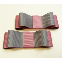 Carly - Grey and Pink Shoe Bows