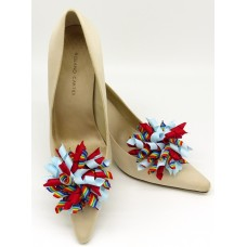 Patsy Shoe Clips - red and blue