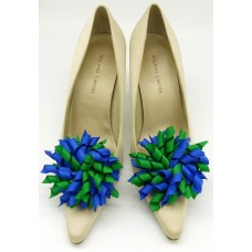 Patsy Shoe Clips - green and blue