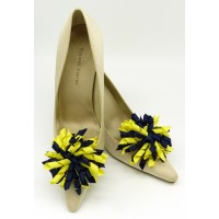 Patsy Shoe Clips - navy and lemon