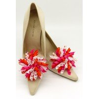 Patsy Shoe Clips - pink and orange