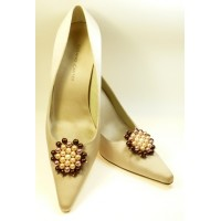 Penelope - Coffee and Cream Shoe Clips