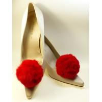 Pom-Pom - Red Shoe Clips