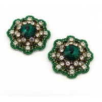 Rosa Shoe Clips - emerald