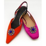 Rose Shoe Clips - electric blue