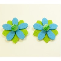 Sunflower - green Children's Shoe Clips