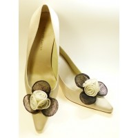 Susie - Ivory and Black Shoe Clips